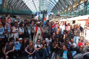 TArtists from the African Express are greeted by loads of fans at Kings Cross train sta