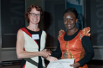 ASAUK President Steph Newell awards the Audrey Richards thesis prize to Fibian Lukalo