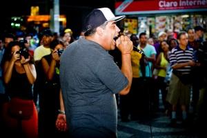 Mc Leonardo singing in Cúpula dos Povos (Rio de Janeiro - Brazil)