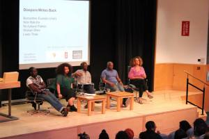 Nii Parkes, Warsan Shire, Leeto Thale, Nick Makoha with chair & founder of the Brunel University Poetry Prize Bernardine Evaristo. Photo Fadil Elobeid.