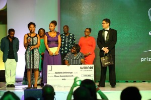 NoViolet Bulawayo on stage with Etisalat Prize Judges, Patrons & organisers