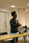Muholi with 'Faces and Phases' at the University of Brighton. Photos of the event - Tessa Lewin.
