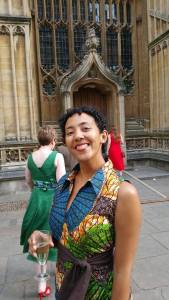 Caine Prize 2015 winner Namwali Serpell at the Bodleian Library Caine Prize announcement dinner. Serpell's dress is by Zambian designer Towani Clarke. Taken by Ranka Primorac.