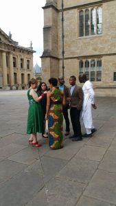 The 2015 Caine Prize shortlisted writers, F.T. Kola, Namwali Serpell, Elnathan John, Msange Ntshanga and Segun Afolabi talking to Goergina Godwin at the Bodleian Library prize-giving dinner, 6th July 2015. Taken by Ranka Primorac.