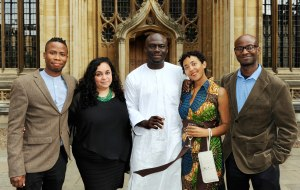 Masande Ntshanga (far left) with the other shortlisted authors, F. T. Kola, Elnathan John, Namwali Serpell and Segun Afolabi, at the Bodleian Library prize-giving dinner in Oxford.