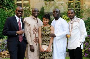 The shortlisted writers for the Caine Prize 2013. L-R: Tope Folarin, Pede Hollist, Chinelo Okparanta, Elnathan John, Abubakar Adam Ibrahim. Photo credit: Parrésia Publishers via Vitabu Books.