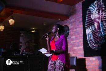 Kigali, Rwanda. 2016. Natacha performing at Spoken Word Rwanda. [Courtesy of Spoken Word Rwanda]
