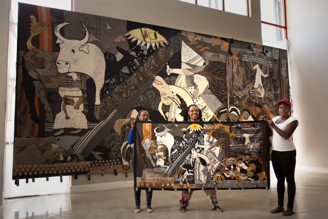 Zoleka, Veronica and Nombulelo infront of main piece 6x4