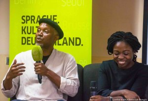 Okey Ndibe discusses his books at the Goethe reading