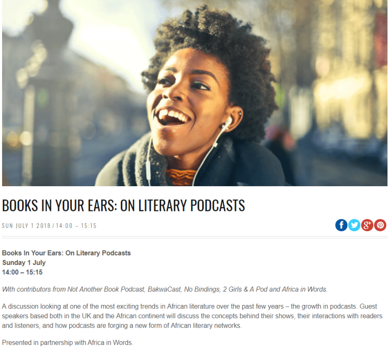 Books in your ears - Africa Writes
