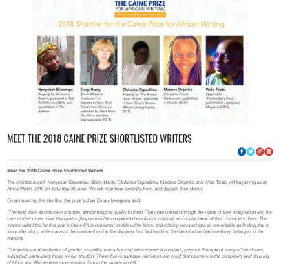 Caine shortlist - meet - Africa Writes