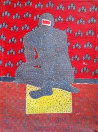 Ibrahim Ballo, Homme tissé sur wax, 2019, 120x80 cm Acrylic and weave on canvas