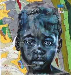Jean David Nkot, BP4740 Zone Tampon, 2019, 130x120 cm Indian ink, acrylic, silkscreen printing and posca on linen
