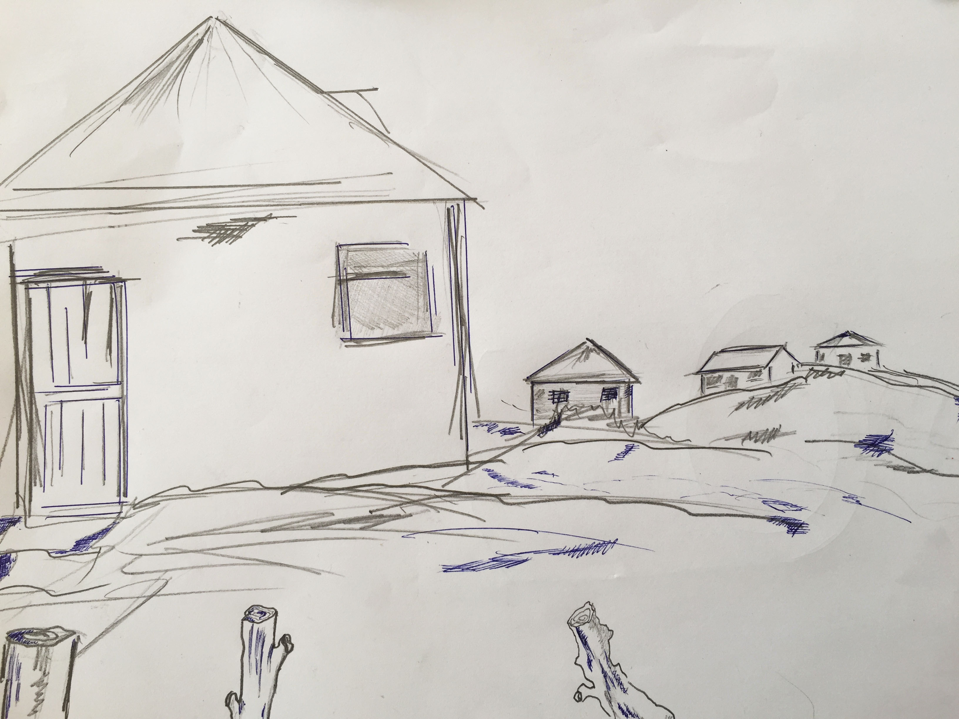 drawing lonely houses lockdown