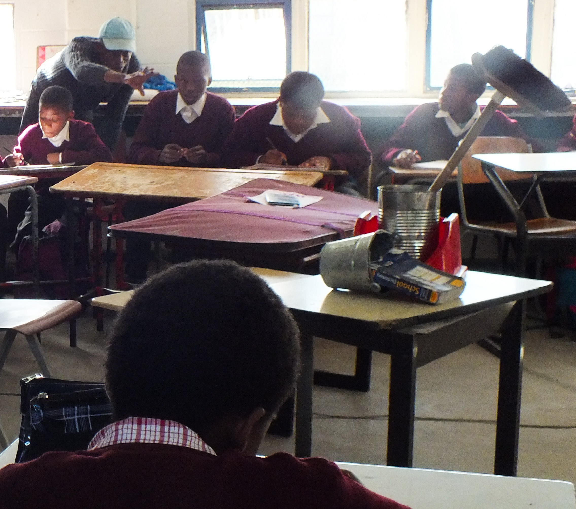 Madoda Honi stressing a point of view in a art class in New Adventist Primary School, New Brighton.2018