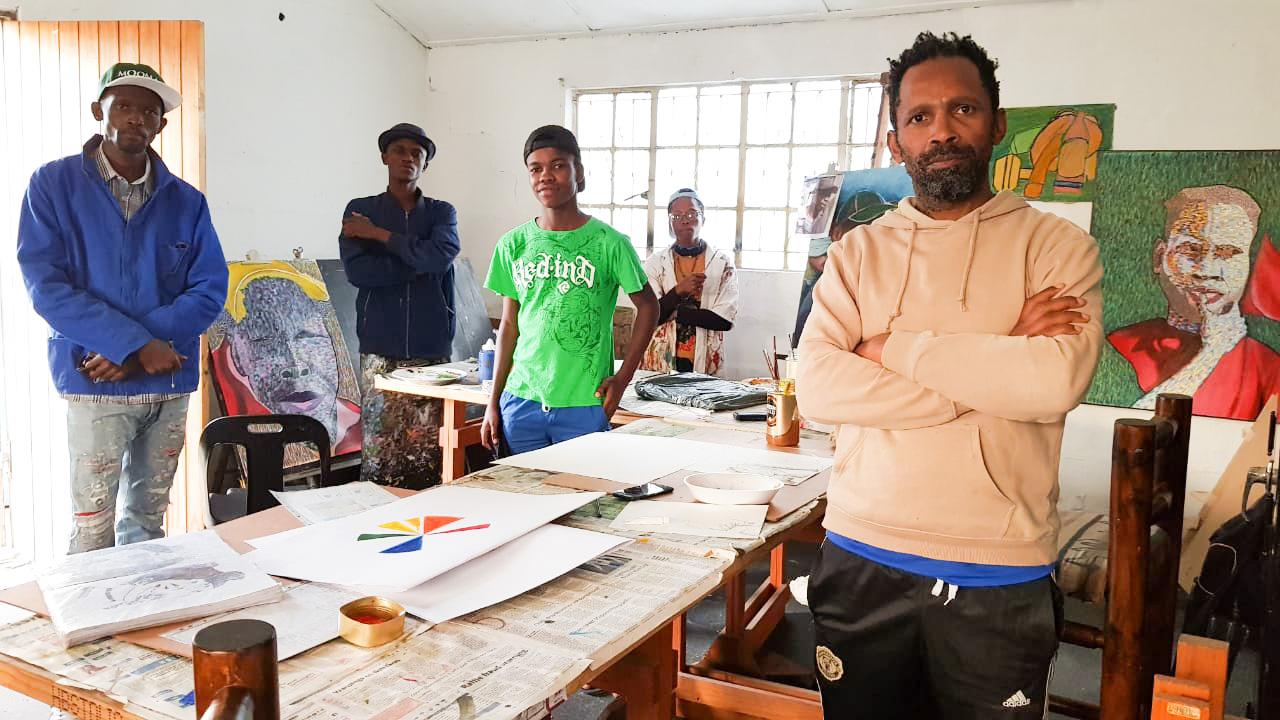 New Brighton Art School Mentorship group, from left, Khaya Gqomo, Madoda Honi, Ayolile Holweni, Phulile David Rawana and Dolla Sapeta. 2021